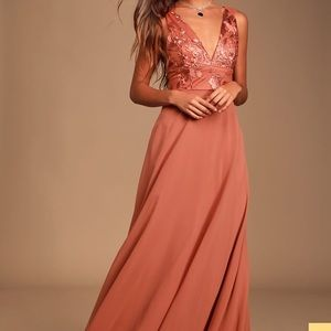 Lulus rusty rose maxi dress